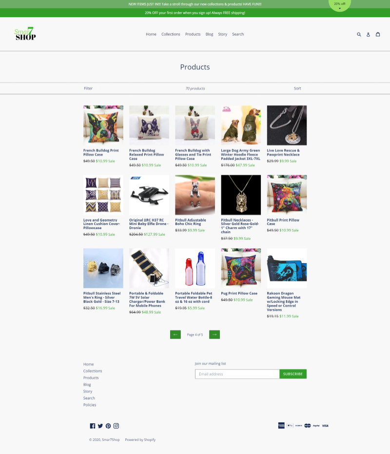 client 6 products page